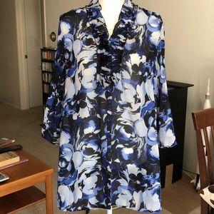 Blue Floral Shirt Pleated Blouse Sunny Leigh S